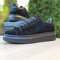 Женские кроссовки, замша, резина, черные.