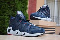 Мужские зимние кроссовки на меху Adidas Equipment FYW S-97, замша, кожа, синие.
