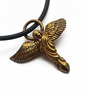 """Амулет Сили """"Бронзовий Вік"""", Ангел - сила Духу,  В комплекті шкіряний шнурок 45 см, бронза, метал"""