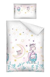 Ткань хлопковая польская, Купон совы бирюзовые с звездочками на розовом