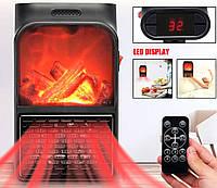 Электрический портативный мини камин обогреватель с пультом Flame Heater 900W