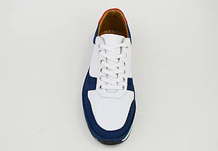 Кросівки чоловічі Rovigo 1796 біло-сині шкіра, фото 3