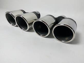Насадки на выхлопные трубы BMW F10 двойные скошенные  (Buzzer)