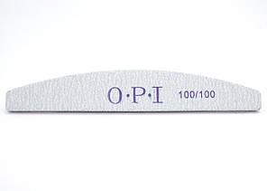 Пилка для нігтів OPI 100/100, півколо, сіра