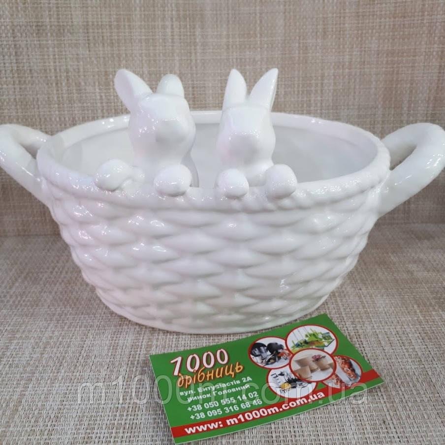 Кошичок керамічний з зайчиками білий 26677