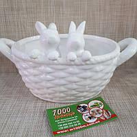 Кошичок керамічний з зайчиками білий 26677, фото 1