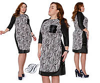 Суперстильное платье с акцентными деталями и оригинальным принтом, р.48,50,52,54,56,58,60 код 3154М