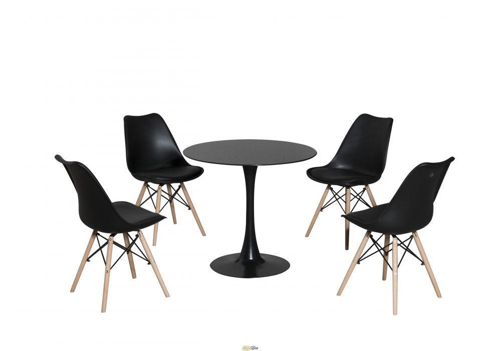 Круглый стол TD-09 Medison (Медисон) 80 см глянцевое черное стекло, от Kashtan