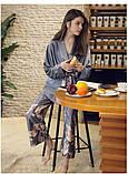 Піжамний шовковий костюм на запах. Піжама жіноча атласна для дому, сну, розмір XL (сірий), фото 3