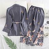 Піжамний шовковий костюм на запах. Піжама жіноча атласна для дому, сну, розмір XL (сірий), фото 4