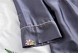 Піжамний шовковий костюм на запах. Піжама жіноча атласна для дому, сну, розмір XL (сірий), фото 5