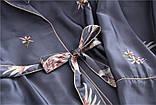 Піжамний шовковий костюм на запах. Піжама жіноча атласна для дому, сну, розмір XL (сірий), фото 9
