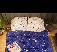 Комплект Звезды на сине-бежевом,  бязь, хлопок