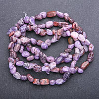 Бусины из натурального камня Чароит галтовка, диаметр 7х9+-мм нитка, длина 85+-см