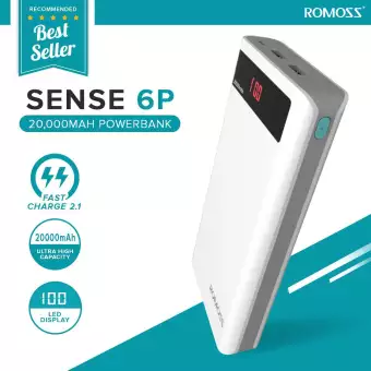 Power Bank Romoss Sense 6P 20000mAh с дисплеем | Повербанк (Реплика)