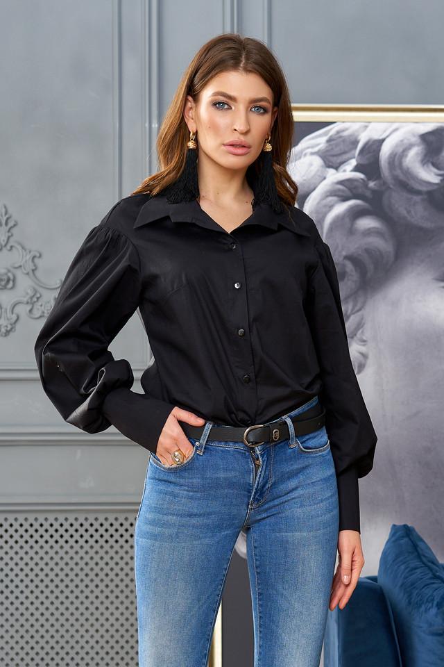 Рубашка женская чёрная хлопок, стильная, молодёжная