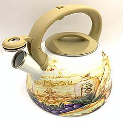 Чайник с свистком Hoffner 4932 Evening Flowers 3,3 литра, индукцуя, газ, электро, стекло