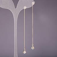 Серьги протяжки Треугольники с камнями 5х8х90мм серия 925 цвет металла золото