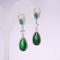 Серьги капли серия 925 с камнями цвет зеленый 10х43мм металл серебристый