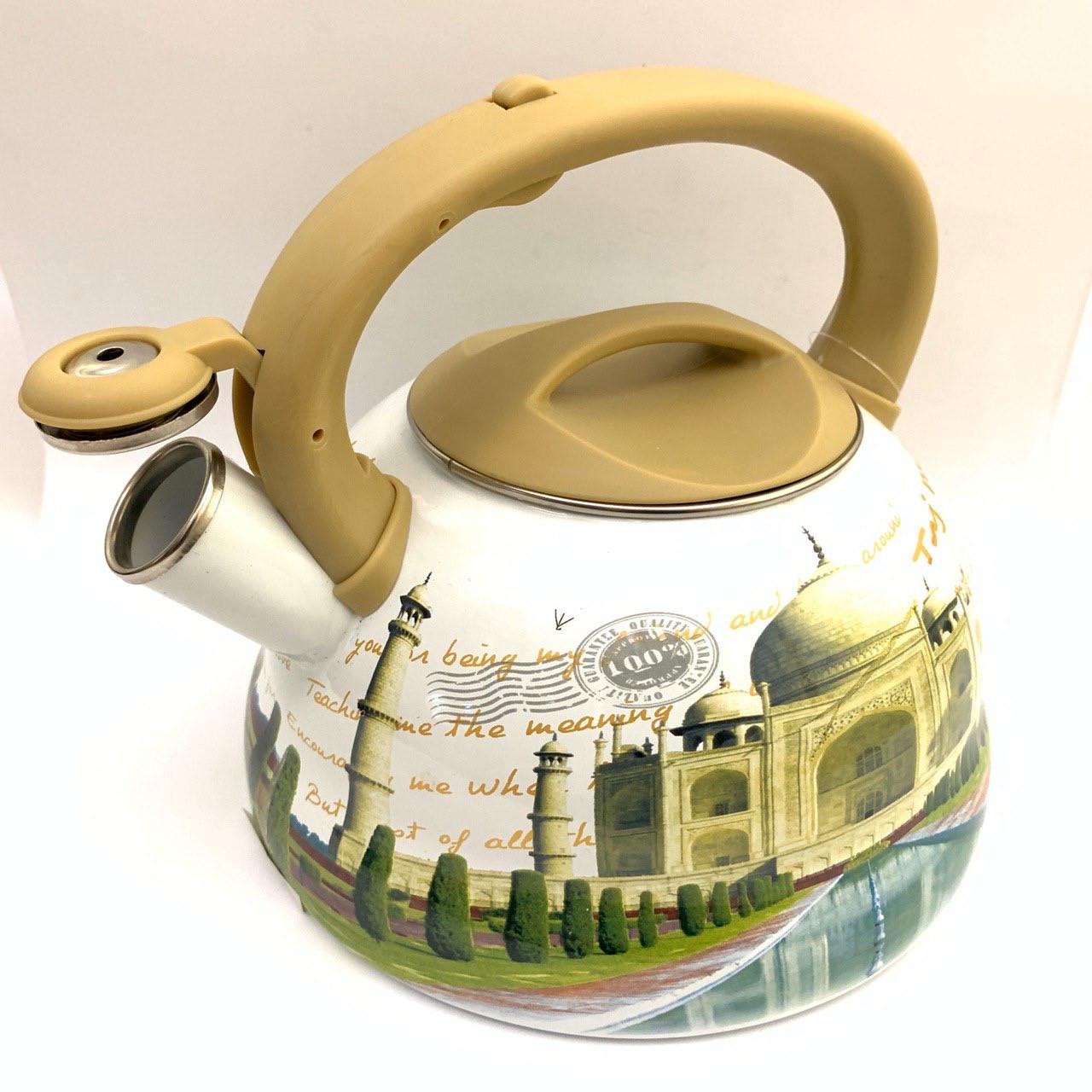Чайник с свистком Hoffner 4932 Taj Mahal 3,3 литра, индукцуя, газ, электро, стекло