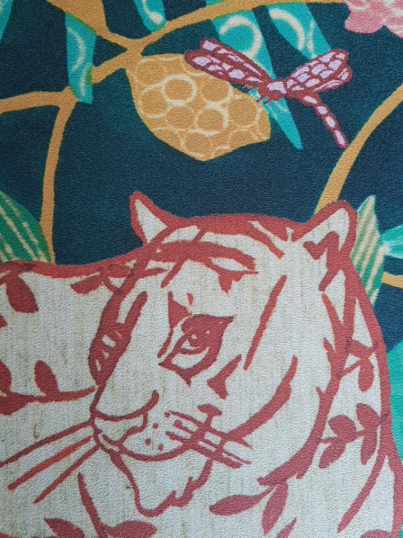 Обои виниловые на флизелине Marburg 31862 New modern детские джунгли растения бабочки животные тигры пантеры