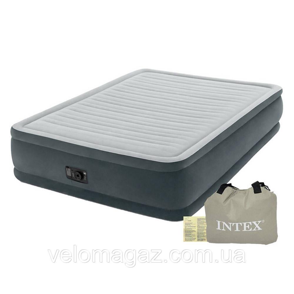Надувная кровать 203*152*46 см двухспальная с встроенным насосом Intex 64126