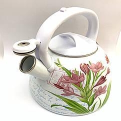 Чайник с свистком Hoffner 4932 Tulipan 3,3 литра, индукцуя, газ, электро, стекло