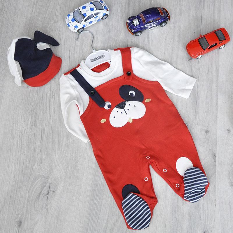 Детский комплект трикотаж (человечек, шапка), для новорожденных 0-9 мес (3 ед. в уп.)