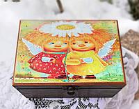 Шкатулка для чая, чайная шкатулка с ангелами, декор кухни, хранение чая, специй, ручная работа