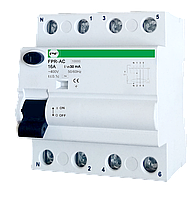 УЗО FPR-AC 4р 16А 30мА (3P+N) Promfactor
