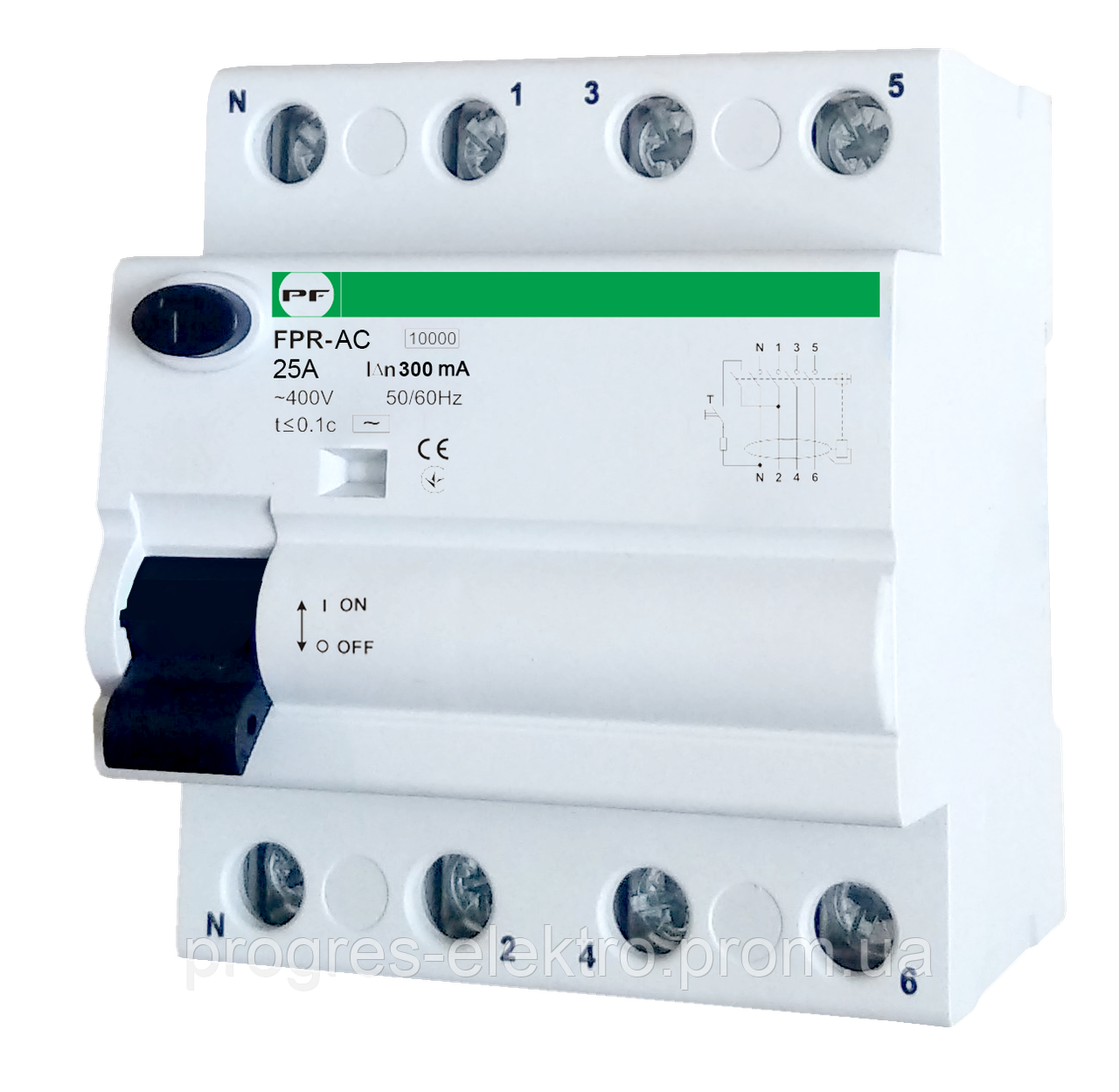 УЗО FPR-AC 4р 16А 300мА (3P+N) Promfactor