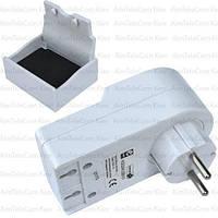 Переходник сетевой ЕМТ, Евро вилка/розетка + 2 гнезда USB, с подставкой