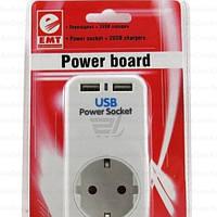 Переходник сетевой ЕМТ, Евро вилка/розетка + 2 гнезда USB, без подставки под телефон