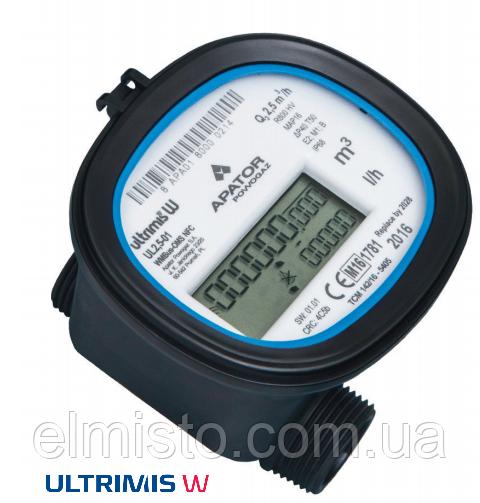 Ультразвуковой счетчик воды Apator Ultrimis 2,5-01 Ду15 Q3 2,5м3/ч L=80mm, муфтовый, композит