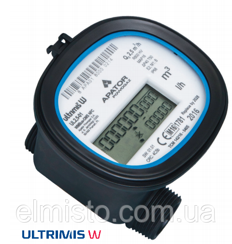 Ультразвуковой счетчик воды Apator Ultrimis 2,5-01 Ду15 Q3 2,5м3/ч L=100mm, муфтовый, композит