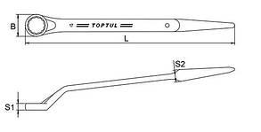 Ключ ударний під трубу накидною односторонній для СТО кут 45° 23мм TOPTUL AAAS2323 (Тайвань), фото 2