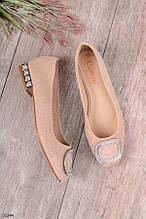 Женские туфли / лоферы бежевые эко-замш
