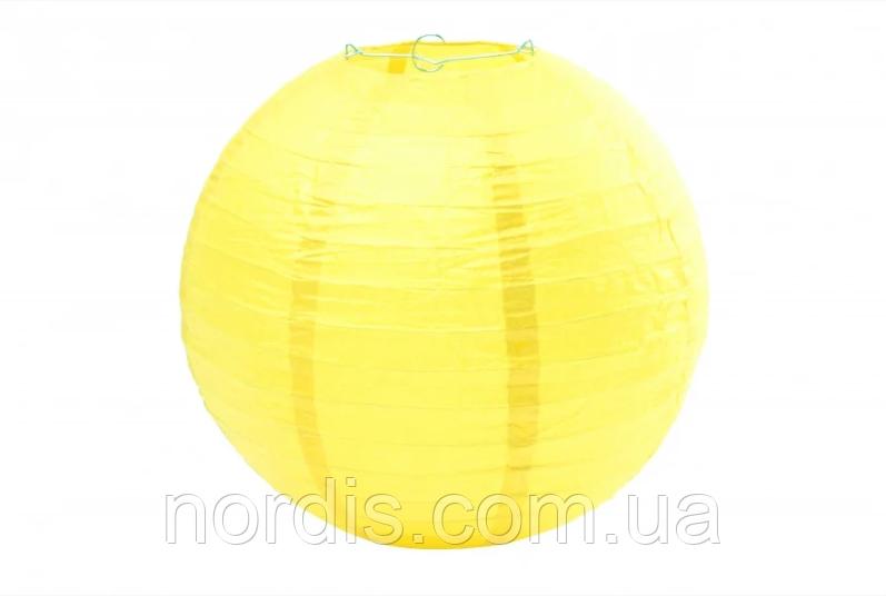Бумажный подвесной шар желтый, 25 см.