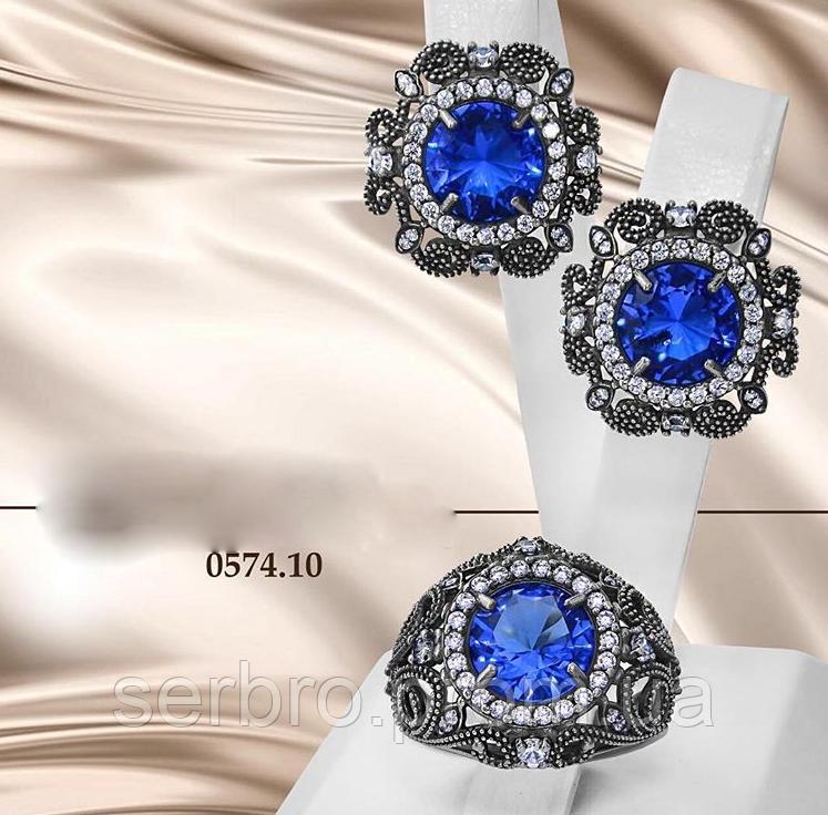 Гарнитур в серебре с голубым цирконом Виолет