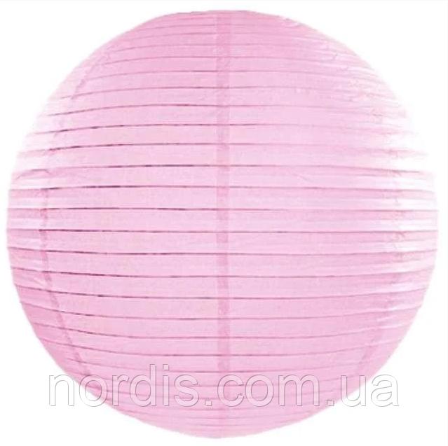 Бумажный подвесной шар розовый, 25 см.