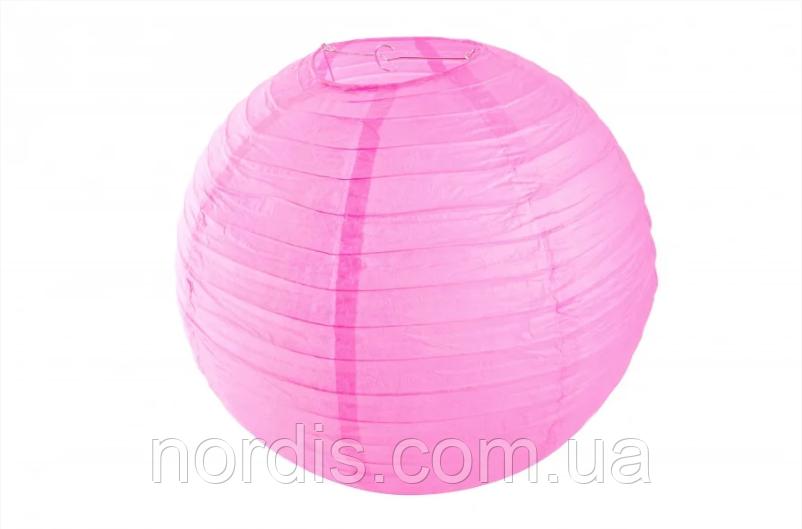 Бумажный подвесной шар малиновый, 25 см.