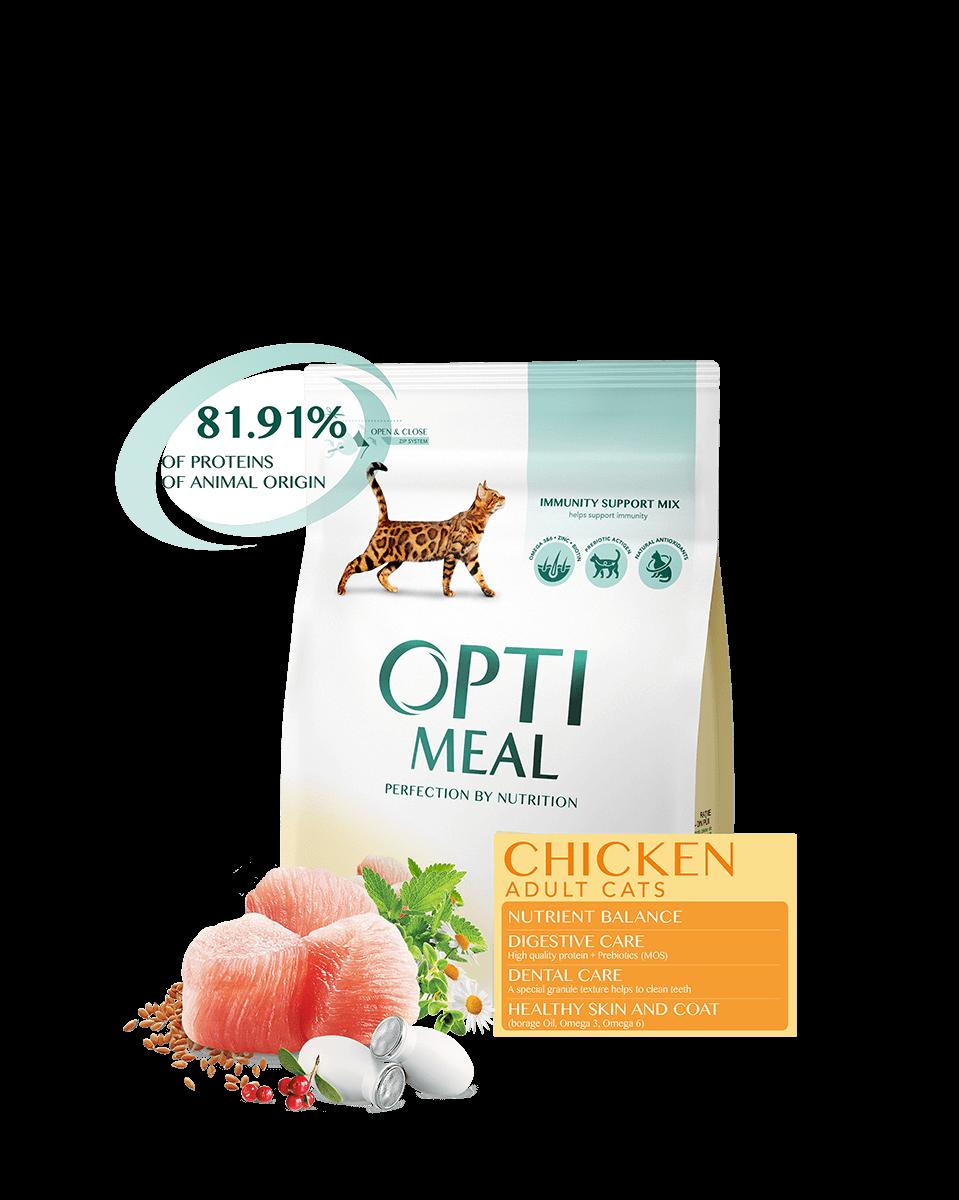 Opti Meal 10 кг. Корм для взрослых котов - КУРИЦА