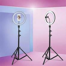 """Кольцевая лампа для фото со штативом с регулеровкой холодного и теплого света RL-12 с зеркалом (12""""22-35см)"""