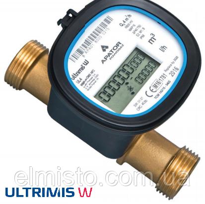 Ультразвуковой счетчик воды Apator Ultrimis 4,0 Ду20 Q3 4,0м3/ч L=190mm, муфтовый, латунь