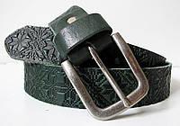 Ремень джинсовый зеленый Вышиванка, фото 1