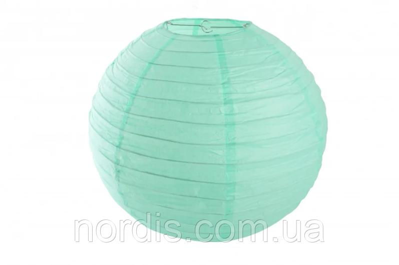 Бумажный подвесной шар мятный, 25 см.
