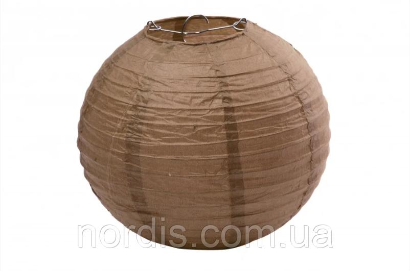 Бумажный подвесной шар коричневый, 25 см.