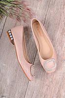 Женские туфли розовые с декором эко кожа, фото 1