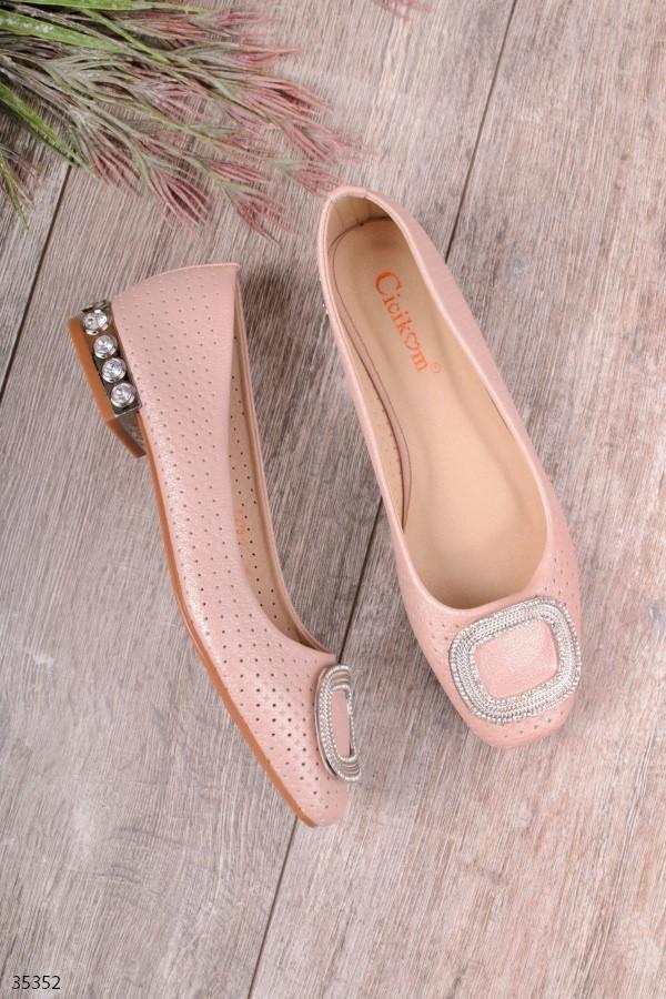 Женские туфли розовые с декором эко кожа