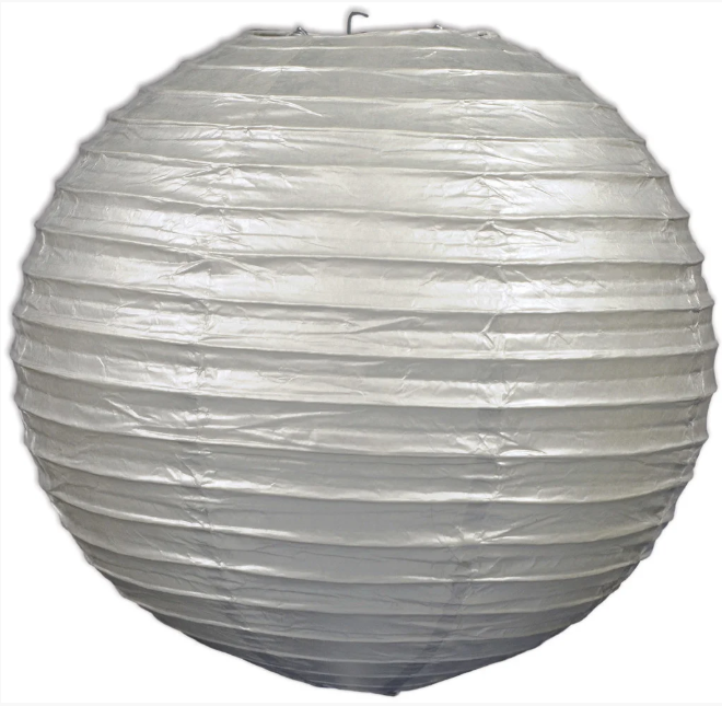 Бумажный подвесной шар серебро, 25 см.